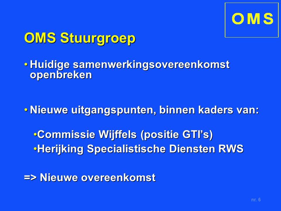nr. 6 OMS Stuurgroep Huidige samenwerkingsovereenkomst openbrekenHuidige samenwerkingsovereenkomst openbreken Nieuwe uitgangspunten, binnen kaders van