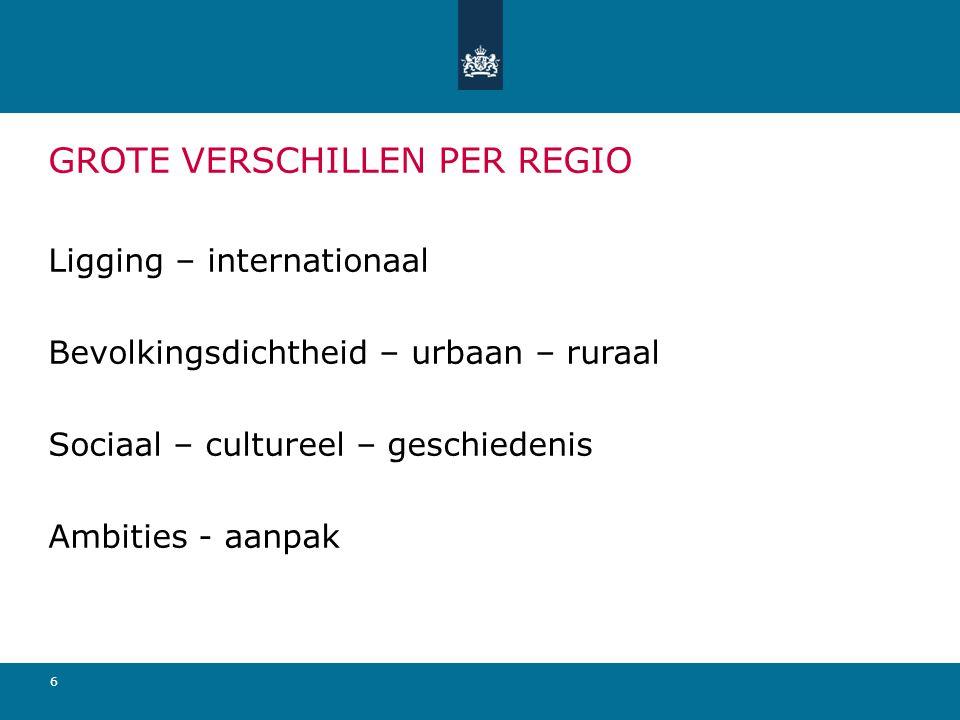 6 GROTE VERSCHILLEN PER REGIO Ligging – internationaal Bevolkingsdichtheid – urbaan – ruraal Sociaal – cultureel – geschiedenis Ambities - aanpak