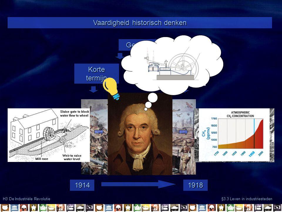 H3 De Industriële Revolutie §3.3 Leven in industriesteden Vaardigheid historisch denken Gevolgen Korte termijn Lange termijn 19141918