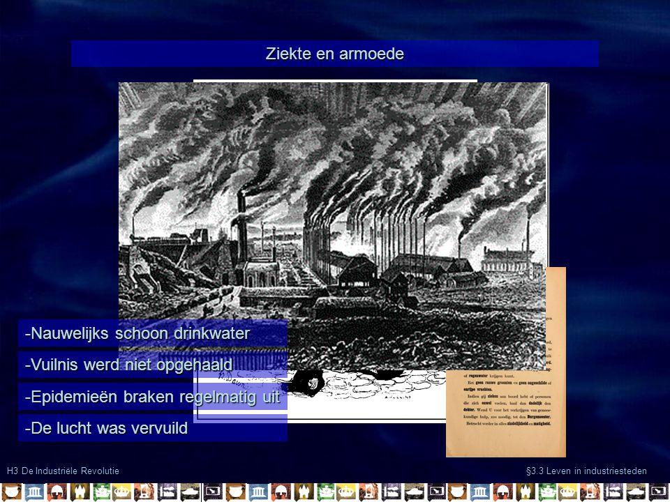 H3 De Industriële Revolutie §3.3 Leven in industriesteden Ziekte en armoede -Epidemieën braken regelmatig uit -De lucht was vervuild -Nauwelijks schoo