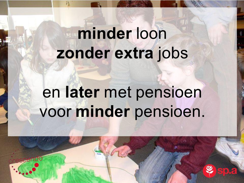 minder loon zonder extra jobs en later met pensioen voor minder pensioen.