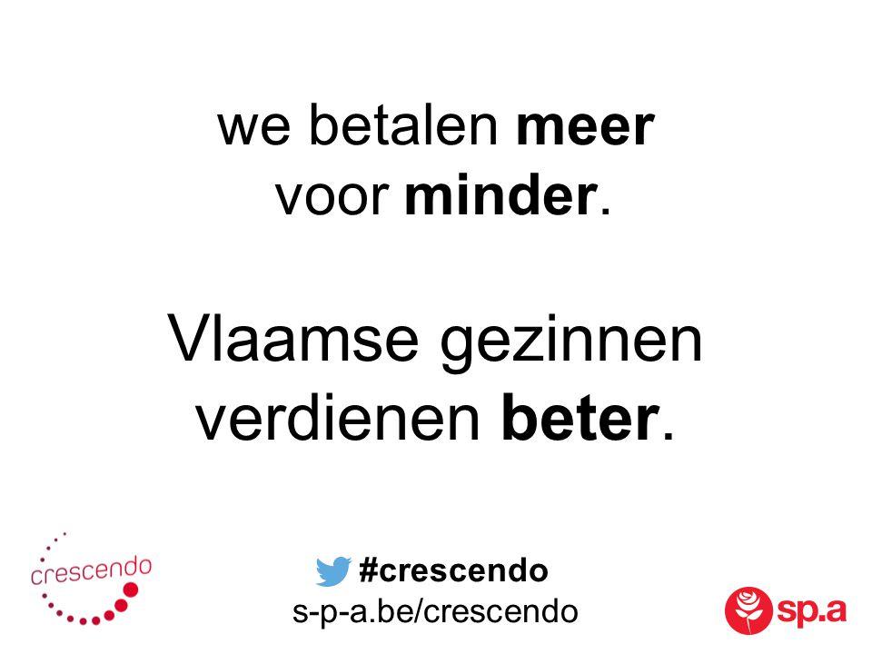 we betalen meer voor minder. Vlaamse gezinnen verdienen beter. #crescendo s-p-a.be/crescendo