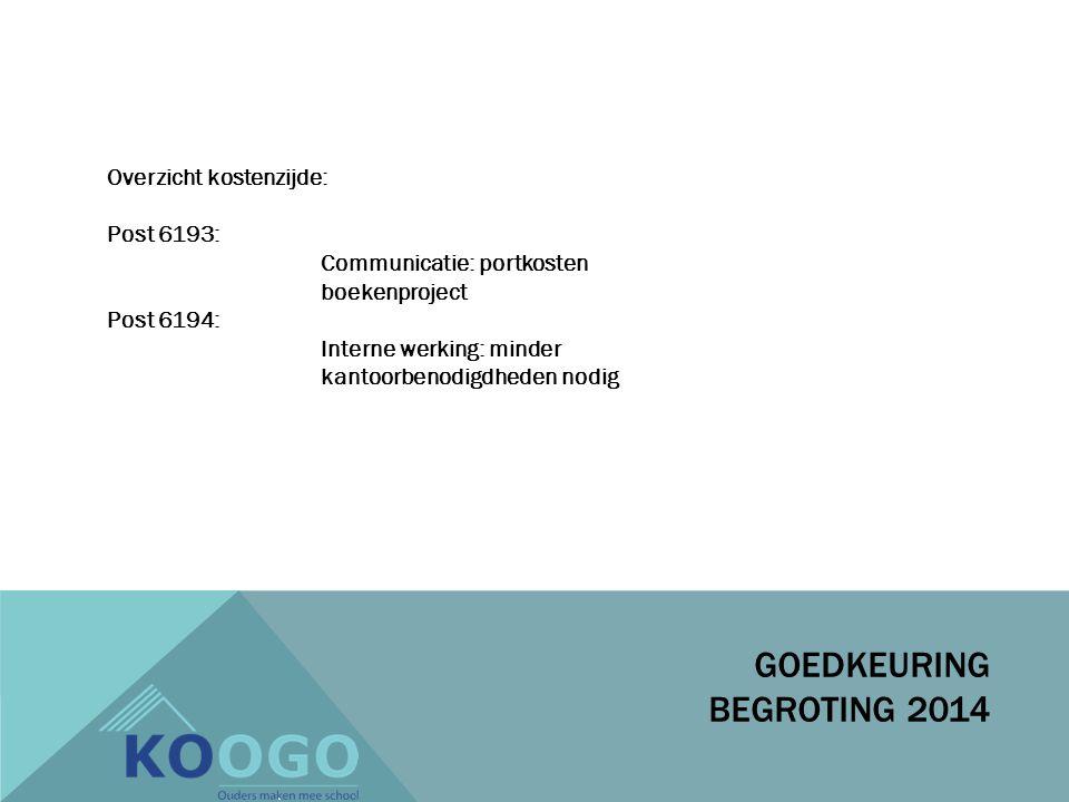 Overzicht kostenzijde: Post 6193: Communicatie: portkosten boekenproject Post 6194: Interne werking: minder kantoorbenodigdheden nodig GOEDKEURING BEGROTING 2014