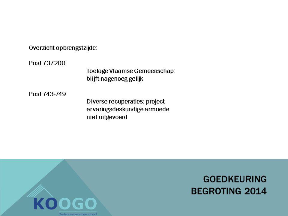 Overzicht opbrengstzijde: Post 737200: Toelage Vlaamse Gemeenschap: blijft nagenoeg gelijk Post 743-749: Diverse recuperaties: project ervaringsdeskundige armoede niet uitgevoerd GOEDKEURING BEGROTING 2014