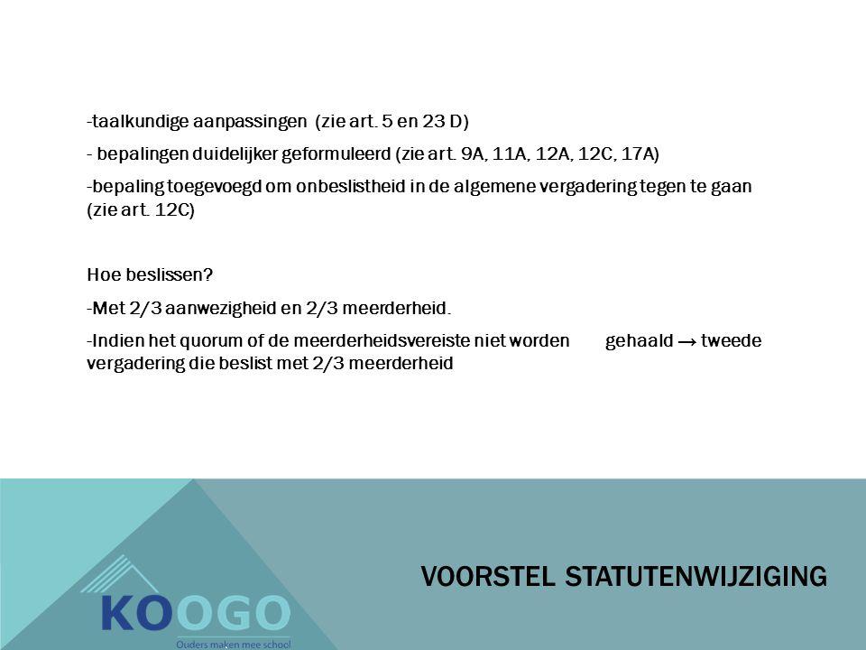 -taalkundige aanpassingen (zie art. 5 en 23 D) - bepalingen duidelijker geformuleerd (zie art.