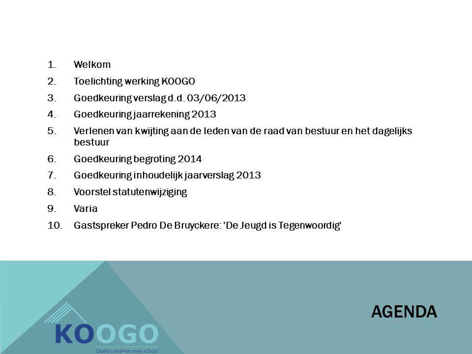 AGENDA 1.Welkom 2.Toelichting werking KOOGO 3.Goedkeuring verslag d.d.