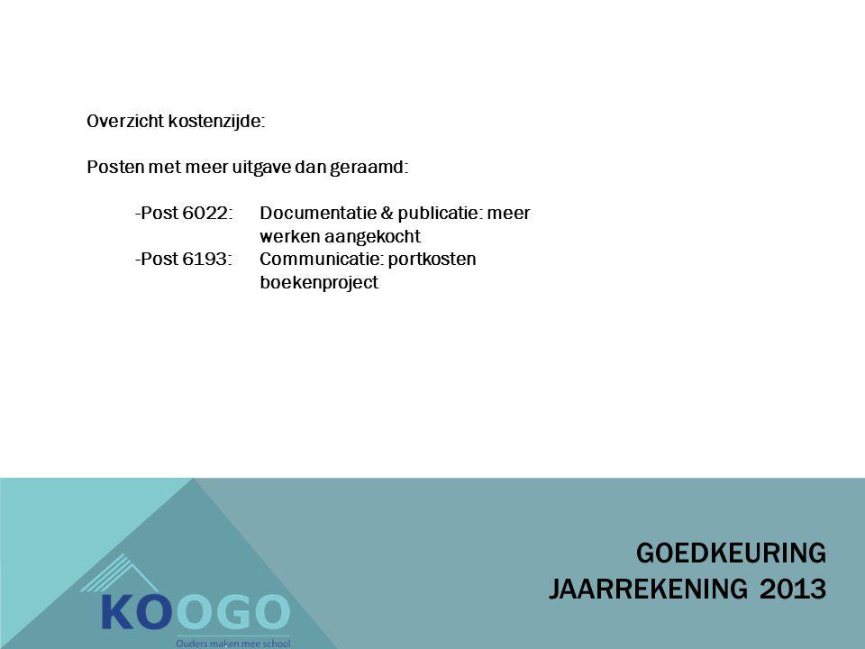 GOEDKEURING JAARREKENING 2013 Overzicht kostenzijde: Posten met meer uitgave dan geraamd: -Post 6022: Documentatie & publicatie: meer werken aangekocht -Post 6193: Communicatie: portkosten boekenproject