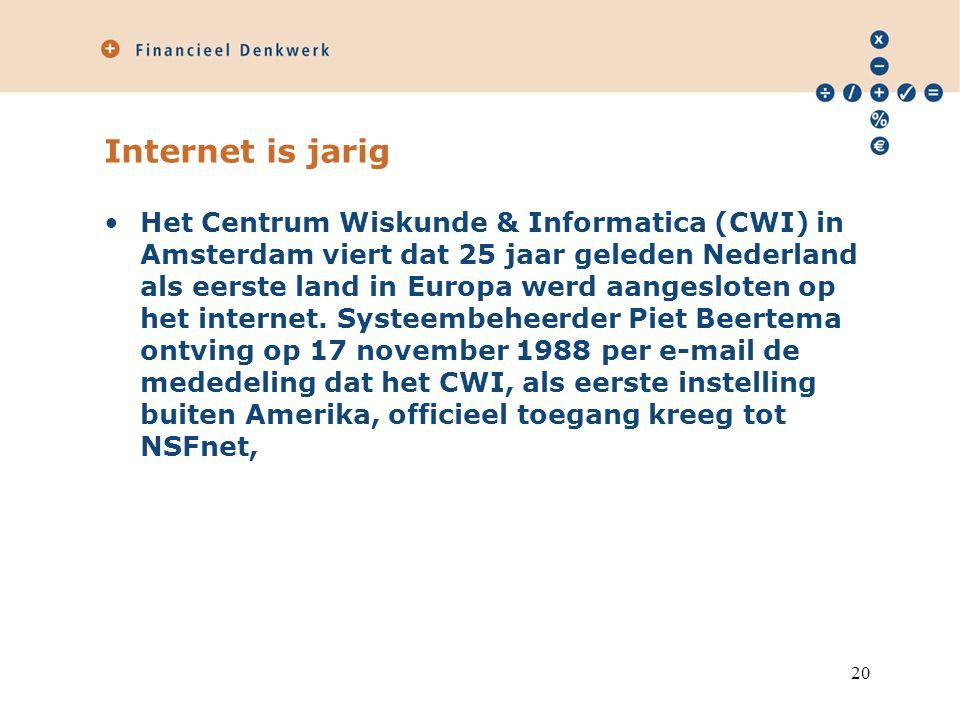 Internet is jarig Het Centrum Wiskunde & Informatica (CWI) in Amsterdam viert dat 25 jaar geleden Nederland als eerste land in Europa werd aangesloten
