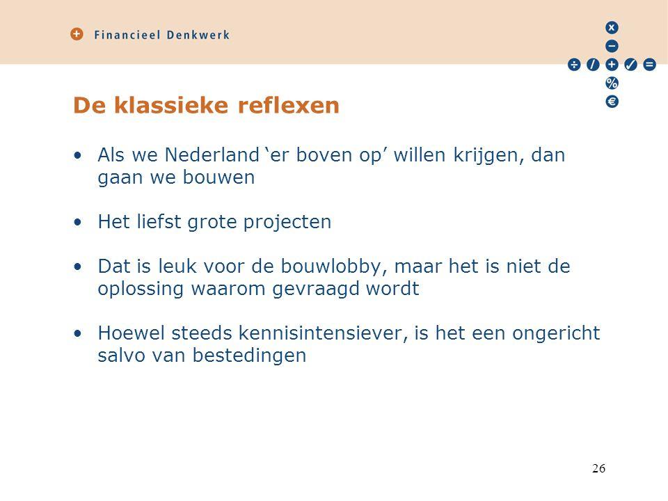De klassieke reflexen Als we Nederland 'er boven op' willen krijgen, dan gaan we bouwen Het liefst grote projecten Dat is leuk voor de bouwlobby, maar