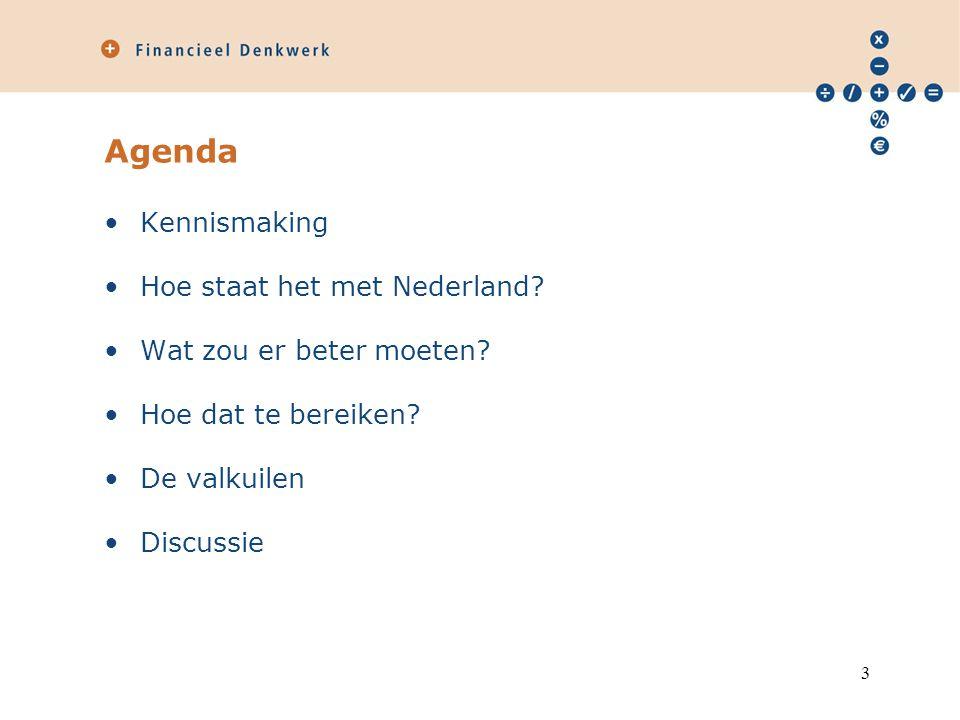 Agenda Kennismaking Hoe staat het met Nederland? Wat zou er beter moeten? Hoe dat te bereiken? De valkuilen Discussie 3