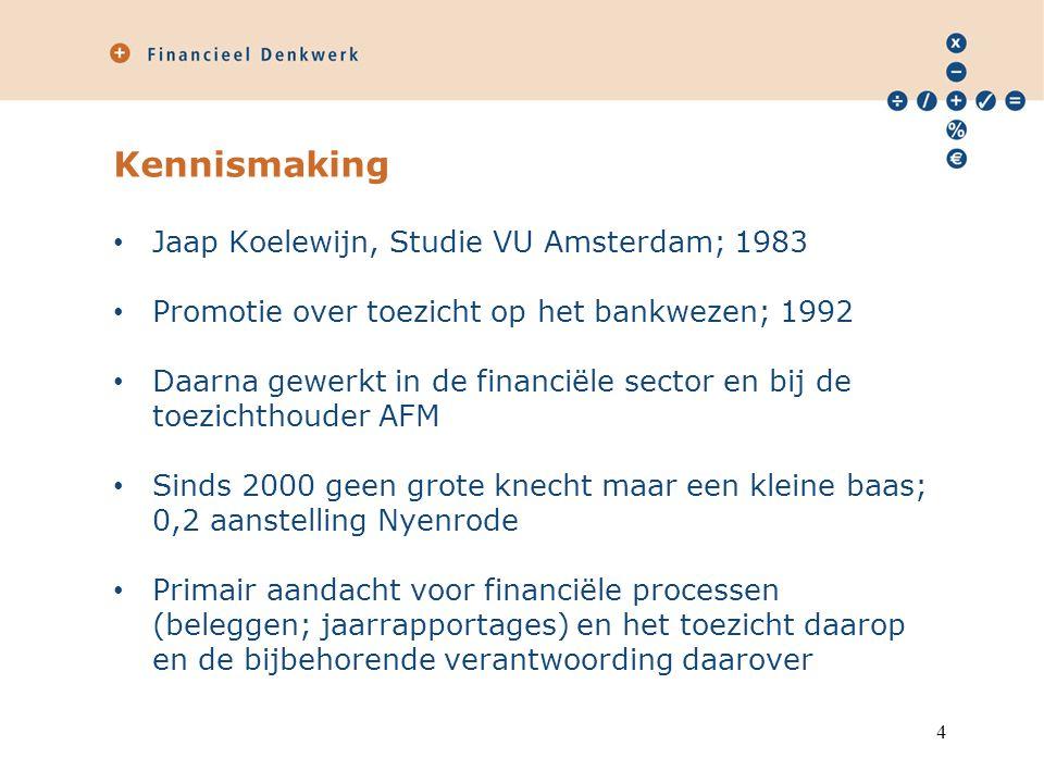 Kennismaking Jaap Koelewijn, Studie VU Amsterdam; 1983 Promotie over toezicht op het bankwezen; 1992 Daarna gewerkt in de financiële sector en bij de toezichthouder AFM Sinds 2000 geen grote knecht maar een kleine baas; 0,2 aanstelling Nyenrode Primair aandacht voor financiële processen (beleggen; jaarrapportages) en het toezicht daarop en de bijbehorende verantwoording daarover 4