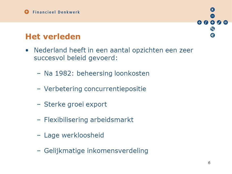 Het verleden Nederland heeft in een aantal opzichten een zeer succesvol beleid gevoerd: –Na 1982: beheersing loonkosten –Verbetering concurrentiepositie –Sterke groei export –Flexibilisering arbeidsmarkt –Lage werkloosheid –Gelijkmatige inkomensverdeling 6