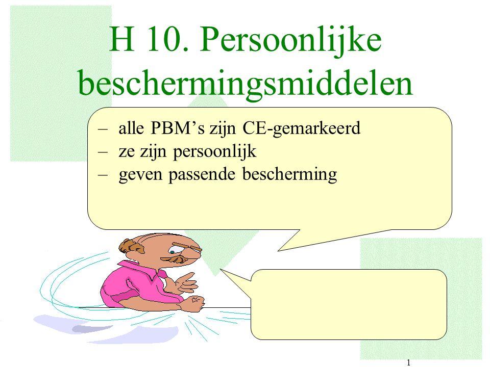 1 H 10. Persoonlijke beschermingsmiddelen –alle PBM's zijn CE-gemarkeerd –ze zijn persoonlijk –geven passende bescherming