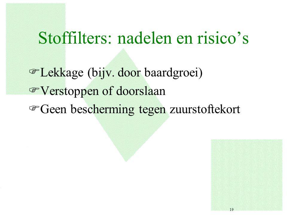 Stoffilters: nadelen en risico's FLekkage (bijv. door baardgroei) FVerstoppen of doorslaan FGeen bescherming tegen zuurstoftekort 19