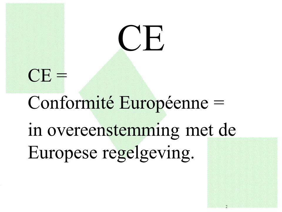 CE CE = Conformité Européenne = in overeenstemming met de Europese regelgeving. 2