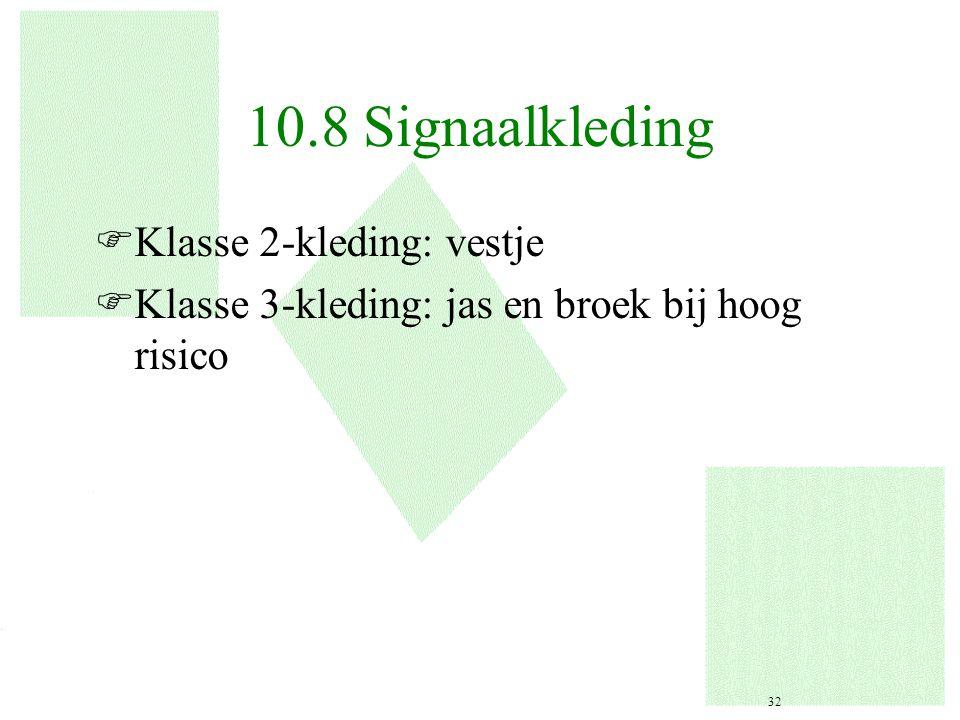 10.8 Signaalkleding FKlasse 2-kleding: vestje FKlasse 3-kleding: jas en broek bij hoog risico 32
