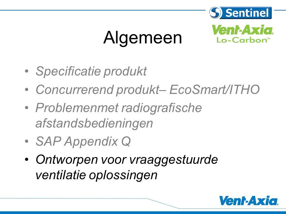Algemeen Specificatie produkt Concurrerend produkt– EcoSmart/ITHO Problemenmet radiografische afstandsbedieningen SAP Appendix Q Ontworpen voor vraaggestuurde ventilatie oplossingen
