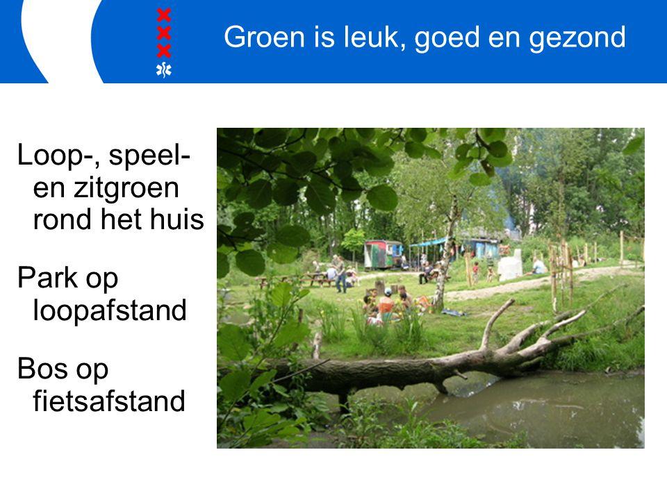 Groen is leuk, goed en gezond Loop-, speel- en zitgroen rond het huis Park op loopafstand Bos op fietsafstand