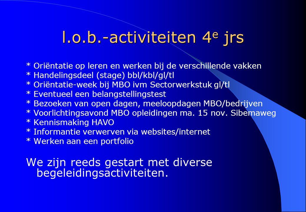 l.o.b.-activiteiten 4 e jrs * Oriëntatie op leren en werken bij de verschillende vakken * Handelingsdeel (stage) bbl/kbl/gl/tl * Oriëntatie-week bij M