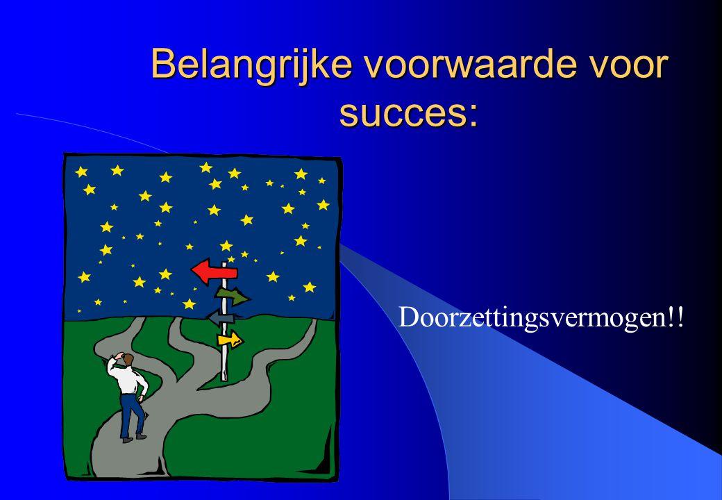 Belangrijke voorwaarde voor succes: Doorzettingsvermogen!!