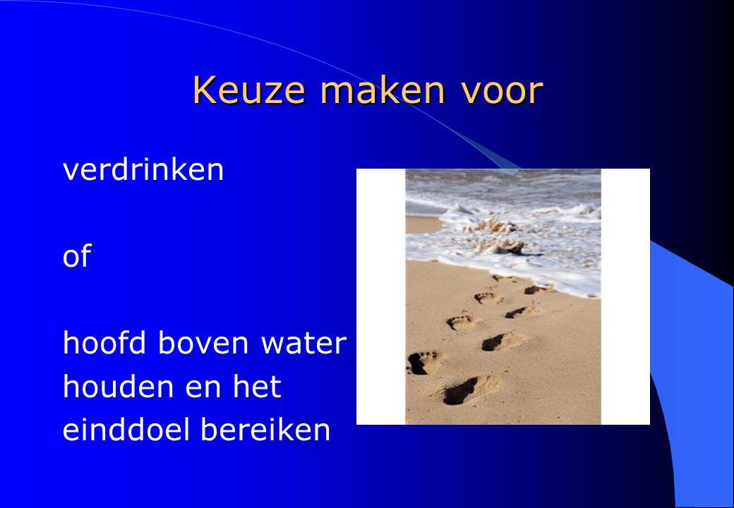 Keuze maken voor verdrinken of hoofd boven water houden en het einddoel bereiken
