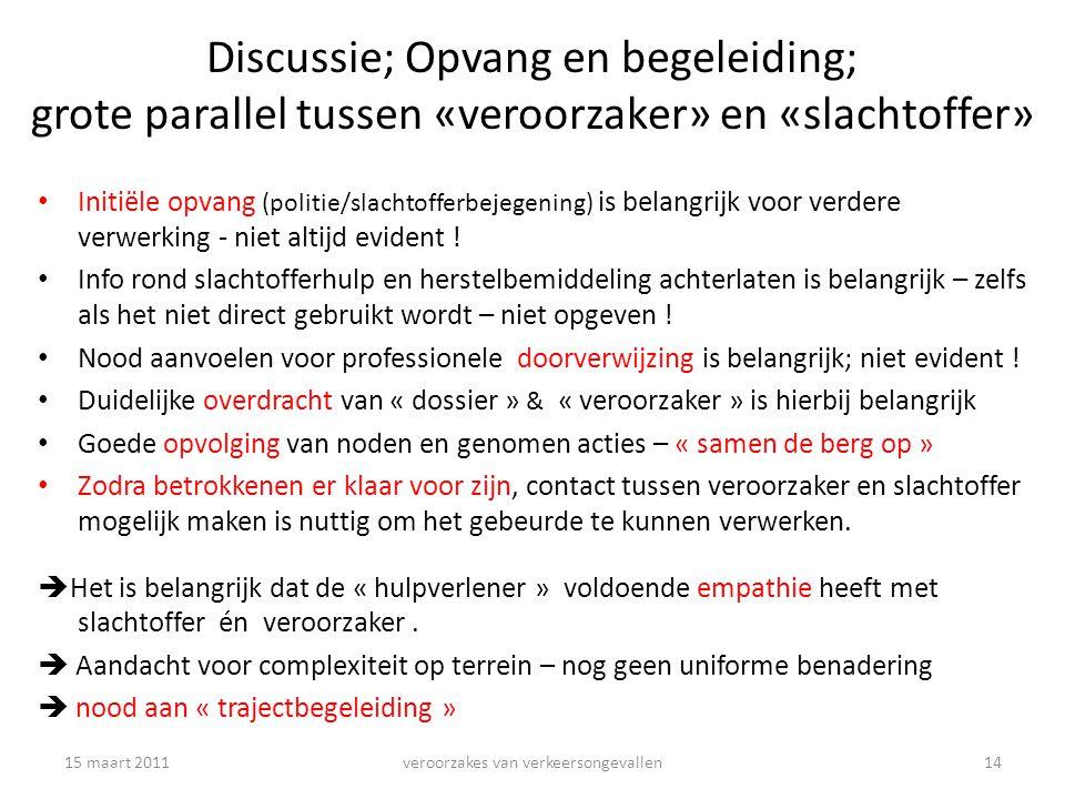 Discussie; Opvang en begeleiding; grote parallel tussen «veroorzaker» en «slachtoffer» Initiële opvang (politie/slachtofferbejegening) is belangrijk voor verdere verwerking - niet altijd evident .