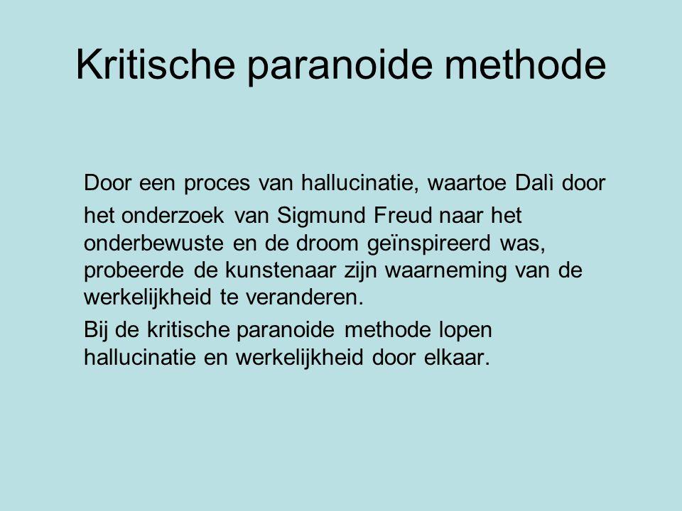 Kritische paranoide methode Door een proces van hallucinatie, waartoe Dalì door het onderzoek van Sigmund Freud naar het onderbewuste en de droom geïn