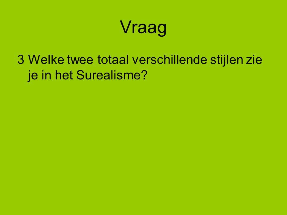 Vraag 3Welke twee totaal verschillende stijlen zie je in het Surealisme?