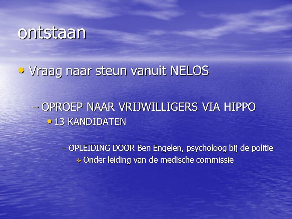ontstaan Vraag naar steun vanuit NELOS Vraag naar steun vanuit NELOS –OPROEP NAAR VRIJWILLIGERS VIA HIPPO 13 KANDIDATEN 13 KANDIDATEN –OPLEIDING DOOR