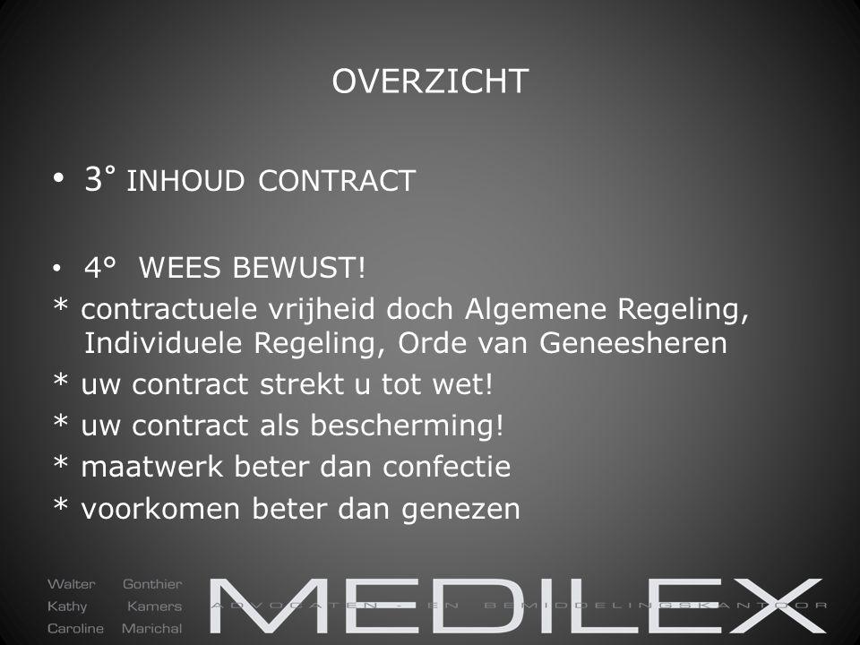 OVERZICHT 3° INHOUD CONTRACT 4° WEES BEWUST! * contractuele vrijheid doch Algemene Regeling, Individuele Regeling, Orde van Geneesheren * uw contract