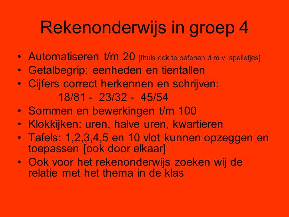Rekenonderwijs in groep 4 Automatiseren t/m 20 [thuis ook te oefenen d.m.v. spelletjes] Getalbegrip: eenheden en tientallen Cijfers correct herkennen