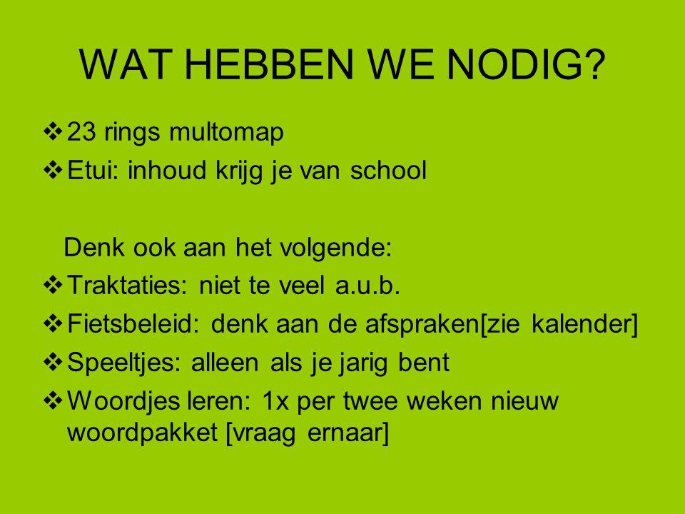 WAT HEBBEN WE NODIG?  23 rings multomap  Etui: inhoud krijg je van school Denk ook aan het volgende:  Traktaties: niet te veel a.u.b.  Fietsbeleid