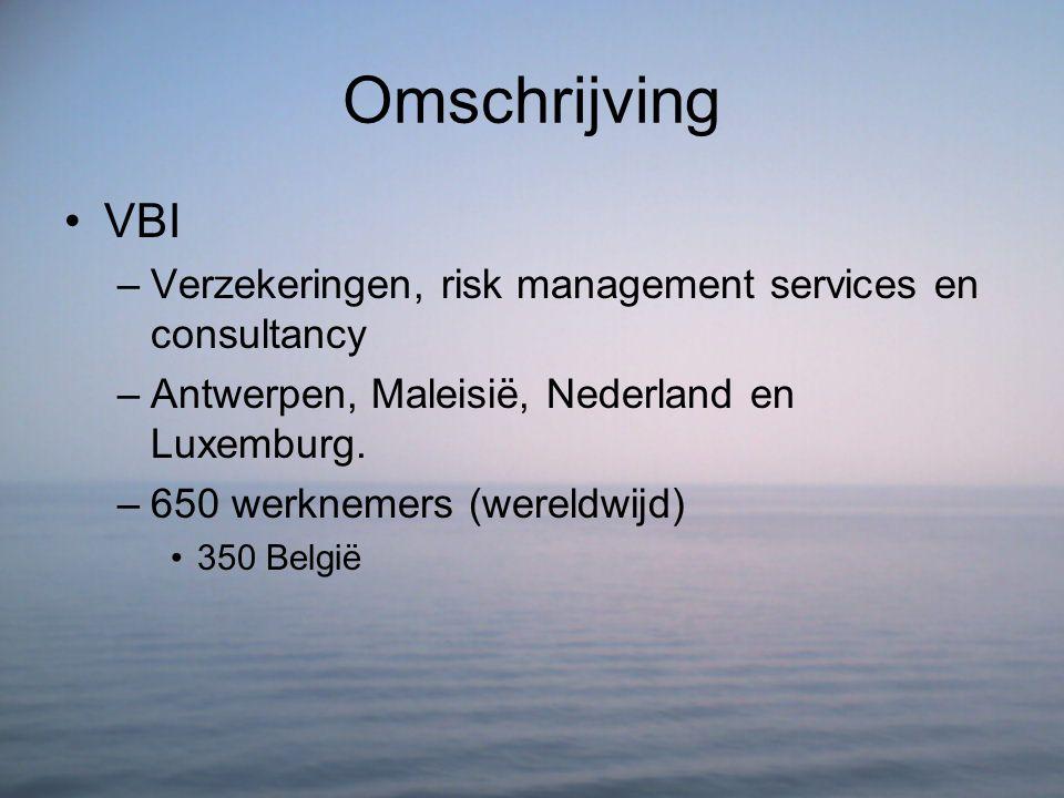 Omschrijving VBI –Verzekeringen, risk management services en consultancy –Antwerpen, Maleisië, Nederland en Luxemburg. –650 werknemers (wereldwijd) 35