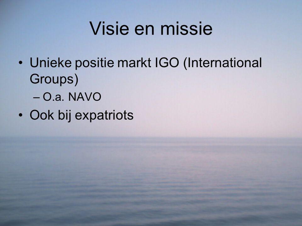 Visie en missie Unieke positie markt IGO (International Groups) –O.a. NAVO Ook bij expatriots