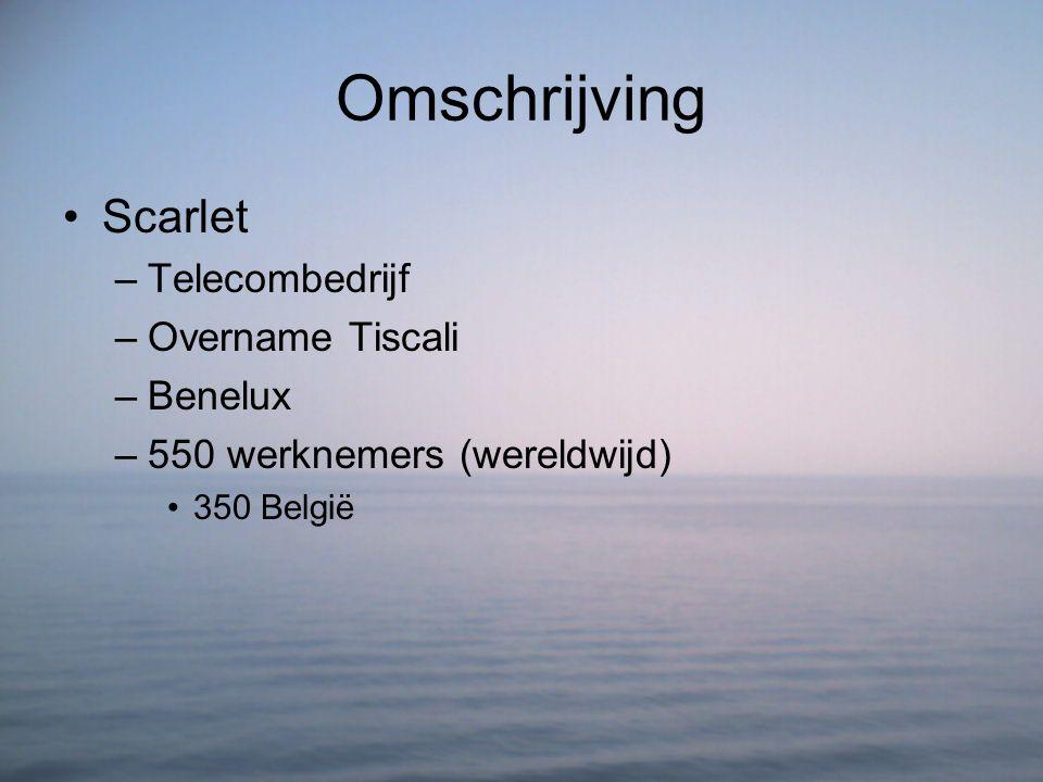 Omschrijving Scarlet –Telecombedrijf –Overname Tiscali –Benelux –550 werknemers (wereldwijd) 350 België