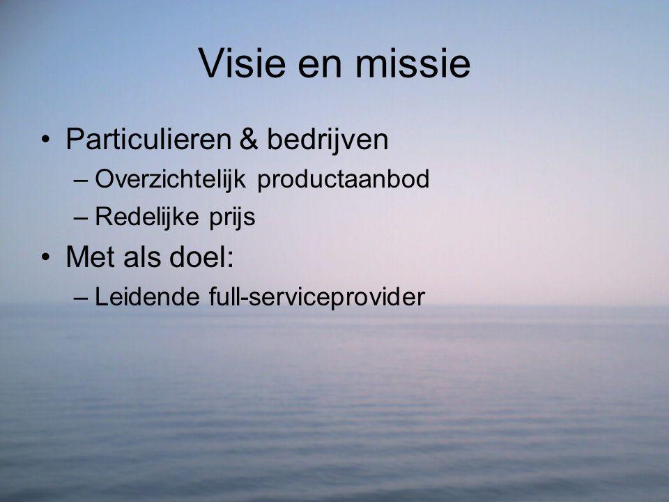 Visie en missie Particulieren & bedrijven –Overzichtelijk productaanbod –Redelijke prijs Met als doel: –Leidende full-serviceprovider