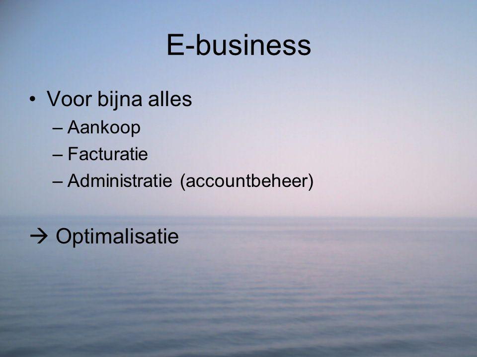E-business Voor bijna alles –Aankoop –Facturatie –Administratie (accountbeheer)  Optimalisatie