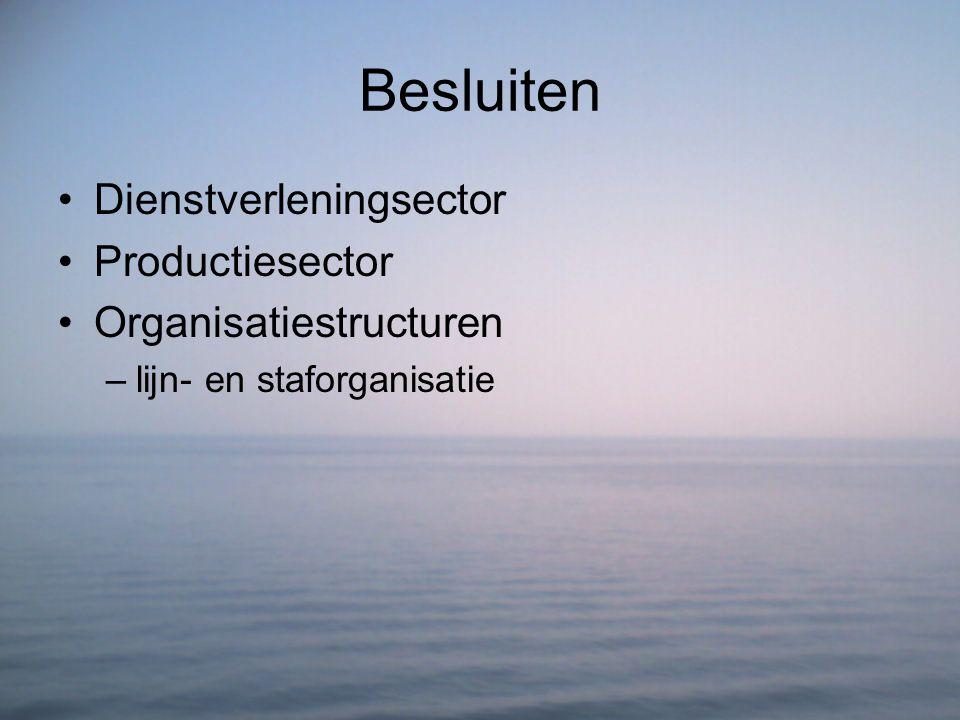 Besluiten Dienstverleningsector Productiesector Organisatiestructuren –lijn- en staforganisatie