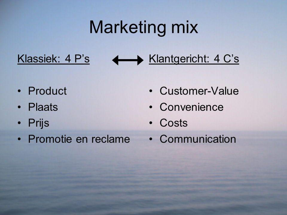 Marketing mix Klassiek: 4 P's Product Plaats Prijs Promotie en reclame Klantgericht: 4 C's Customer-Value Convenience Costs Communication