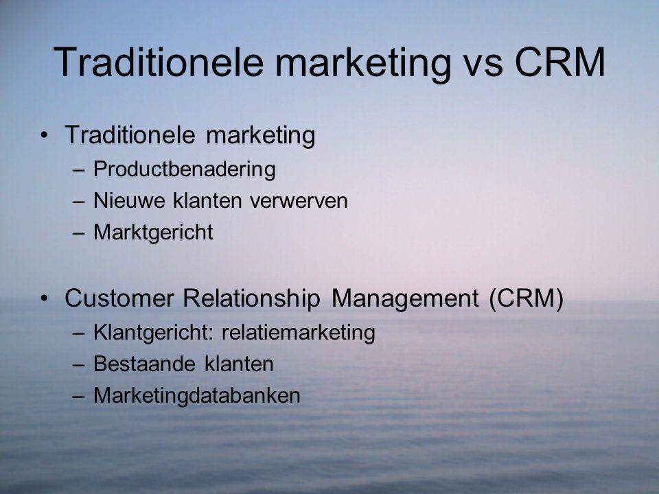 Traditionele marketing vs CRM Traditionele marketing –Productbenadering –Nieuwe klanten verwerven –Marktgericht Customer Relationship Management (CRM)
