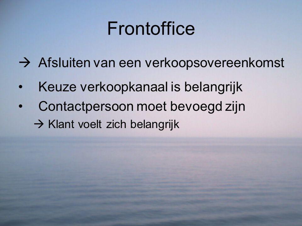 Frontoffice  Afsluiten van een verkoopsovereenkomst Keuze verkoopkanaal is belangrijk Contactpersoon moet bevoegd zijn  Klant voelt zich belangrijk