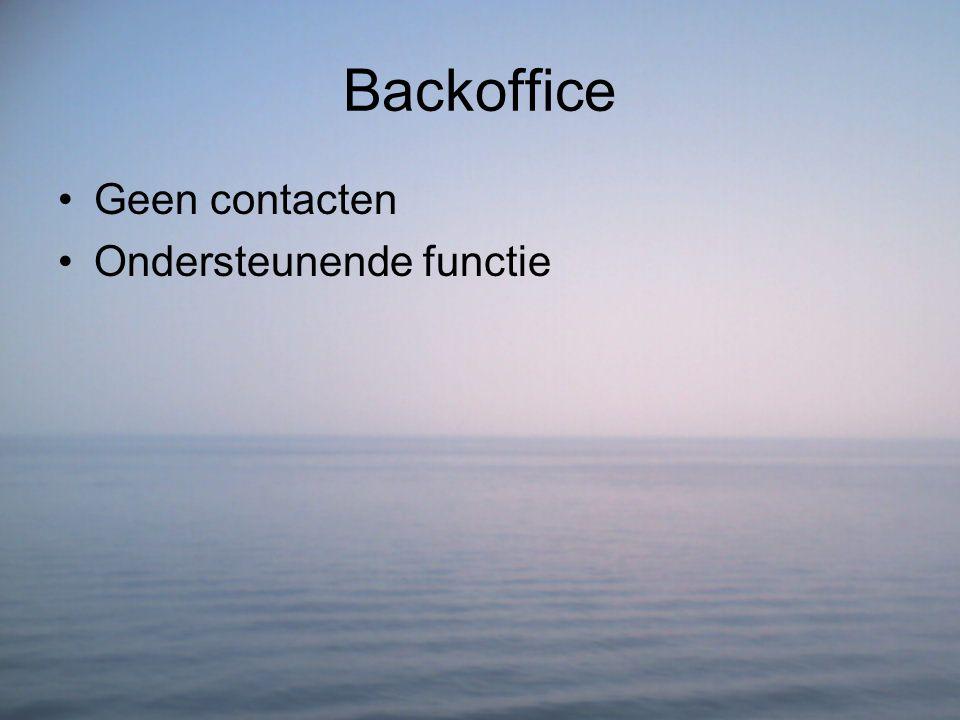 Backoffice Geen contacten Ondersteunende functie