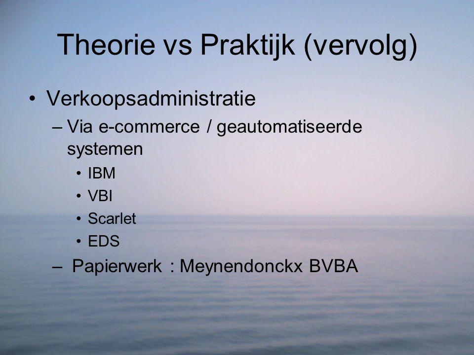 Theorie vs Praktijk (vervolg) Verkoopsadministratie –Via e-commerce / geautomatiseerde systemen IBM VBI Scarlet EDS – Papierwerk : Meynendonckx BVBA