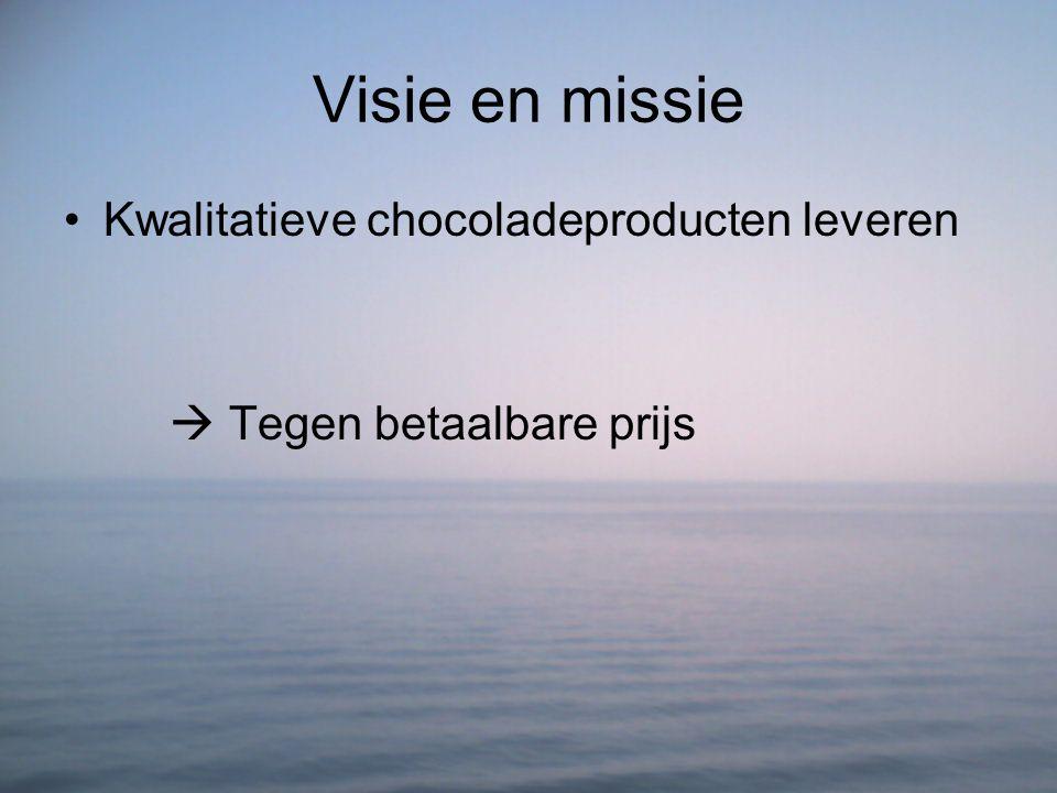 Visie en missie Kwalitatieve chocoladeproducten leveren  Tegen betaalbare prijs