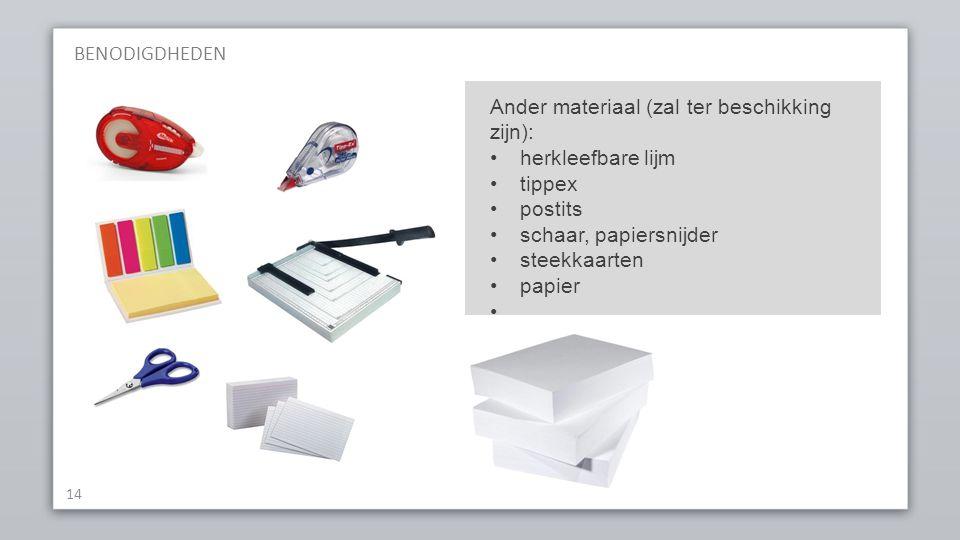 BENODIGDHEDEN 14 Ander materiaal (zal ter beschikking zijn): herkleefbare lijm tippex postits schaar, papiersnijder steekkaarten papier...