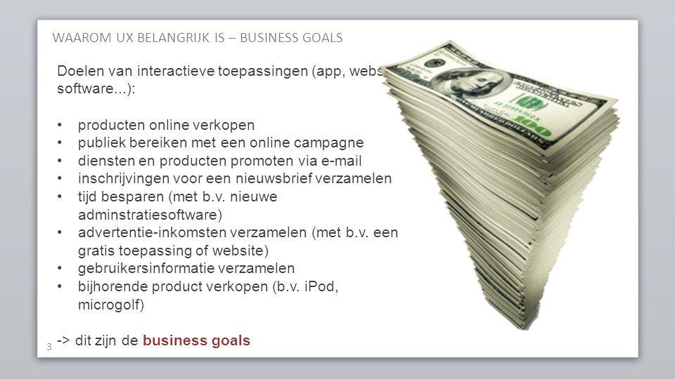 WAAROM UX BELANGRIJK IS – BUSINESS GOALS 3 Doelen van interactieve toepassingen (app, website, software...): producten online verkopen publiek bereike