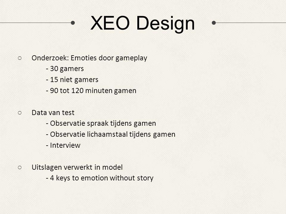 XEO Design ○Onderzoek: Emoties door gameplay - 30 gamers - 15 niet gamers - 90 tot 120 minuten gamen ○Data van test - Observatie spraak tijdens gamen