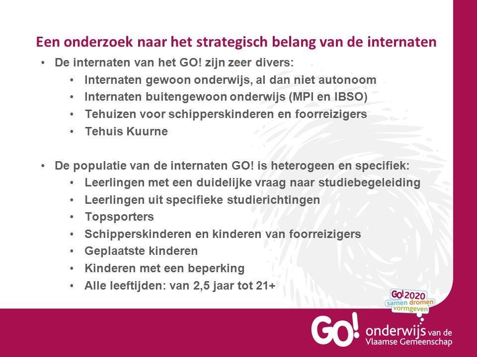 Een onderzoek naar het strategisch belang van de internaten De internaten van het GO! zijn zeer divers: Internaten gewoon onderwijs, al dan niet auton