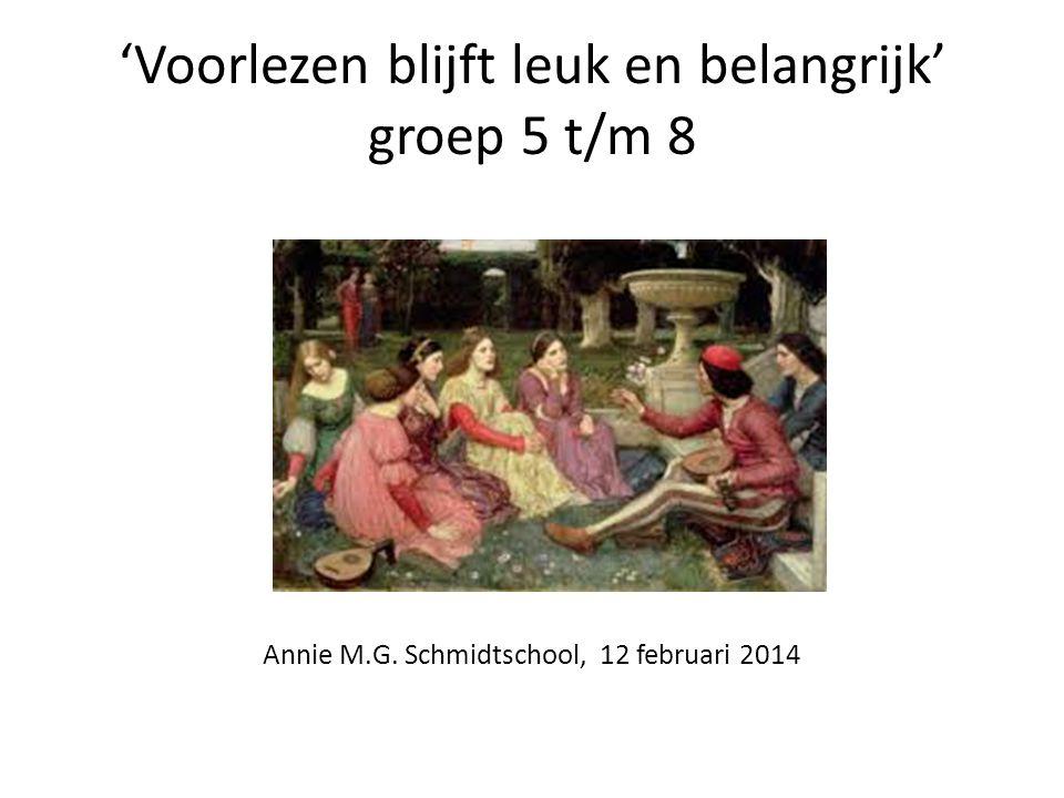 'Voorlezen blijft leuk en belangrijk' groep 5 t/m 8 Groep 5 t/m 8 Annie M.G.