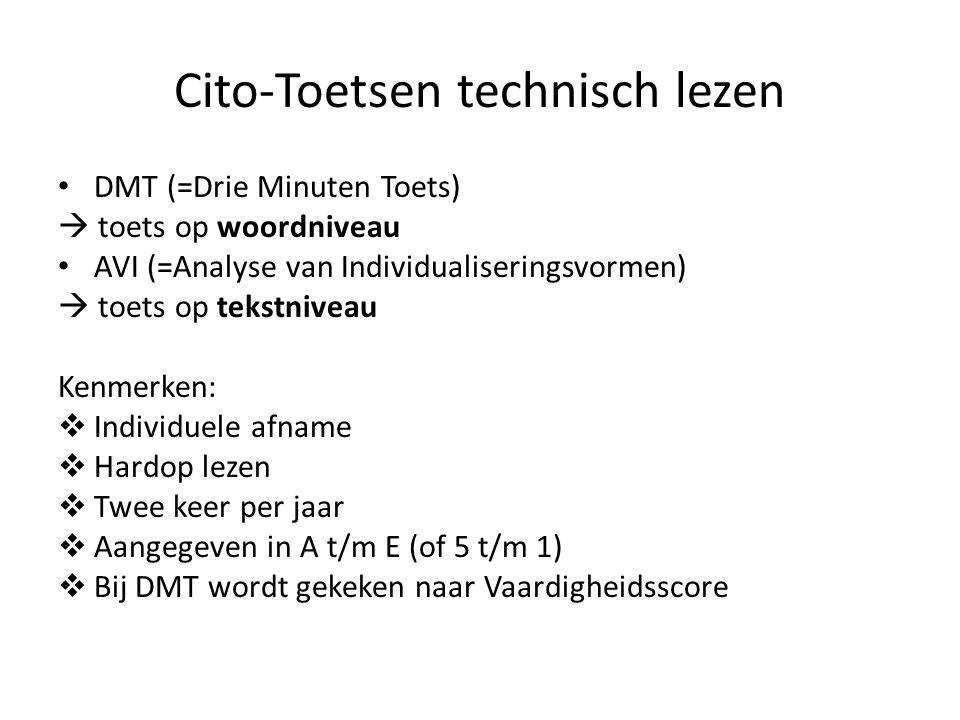 Cito-Toetsen technisch lezen DMT (=Drie Minuten Toets)  toets op woordniveau AVI (=Analyse van Individualiseringsvormen)  toets op tekstniveau Kenmerken:  Individuele afname  Hardop lezen  Twee keer per jaar  Aangegeven in A t/m E (of 5 t/m 1)  Bij DMT wordt gekeken naar Vaardigheidsscore